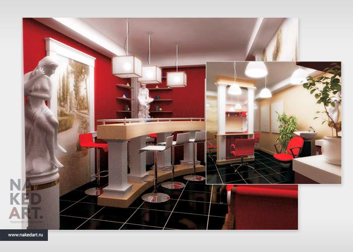 Дизайн интерьера салона красоты «Эллада» пример