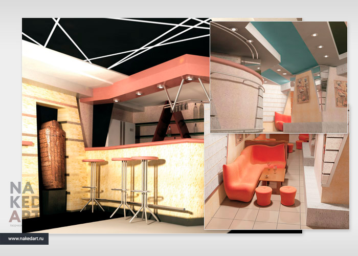 Проект интерьера и фасада ночного клуба Zenon пример